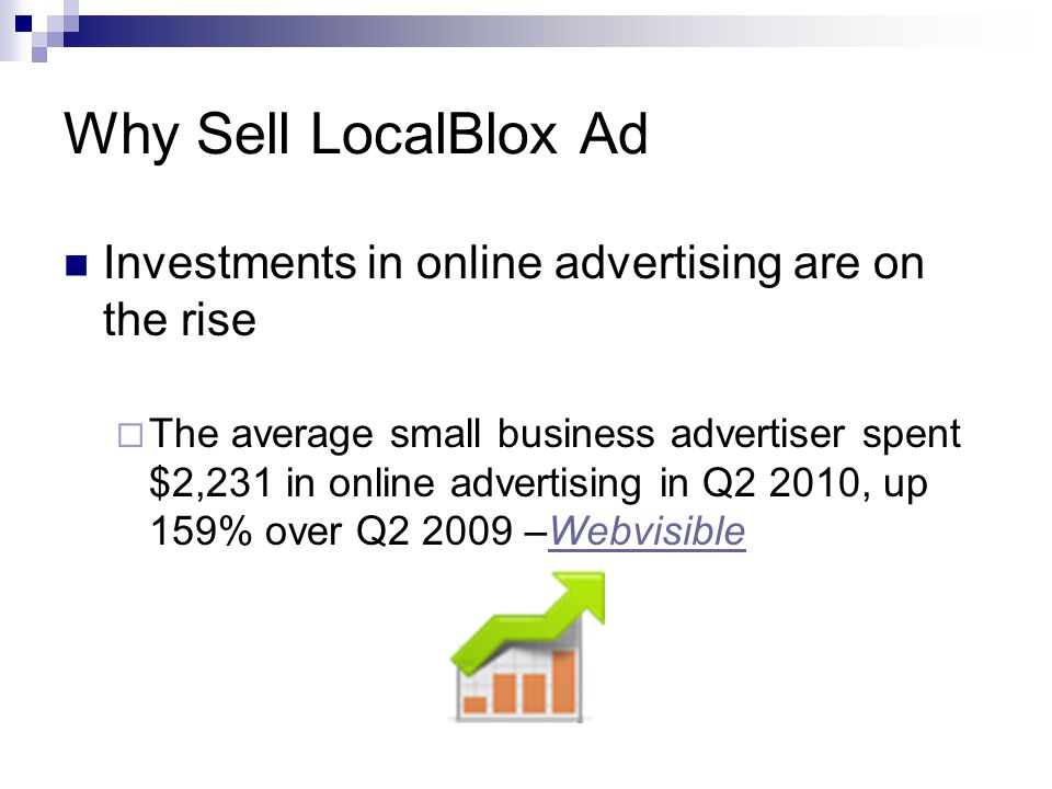 Why Sell LocalBlox Ad Investments in online advertising are on the rise The average small business advertiser spent $2,231 in online advertising in Q2 2010, up 159% over Q2 2009 –WebvisibleWebvisible