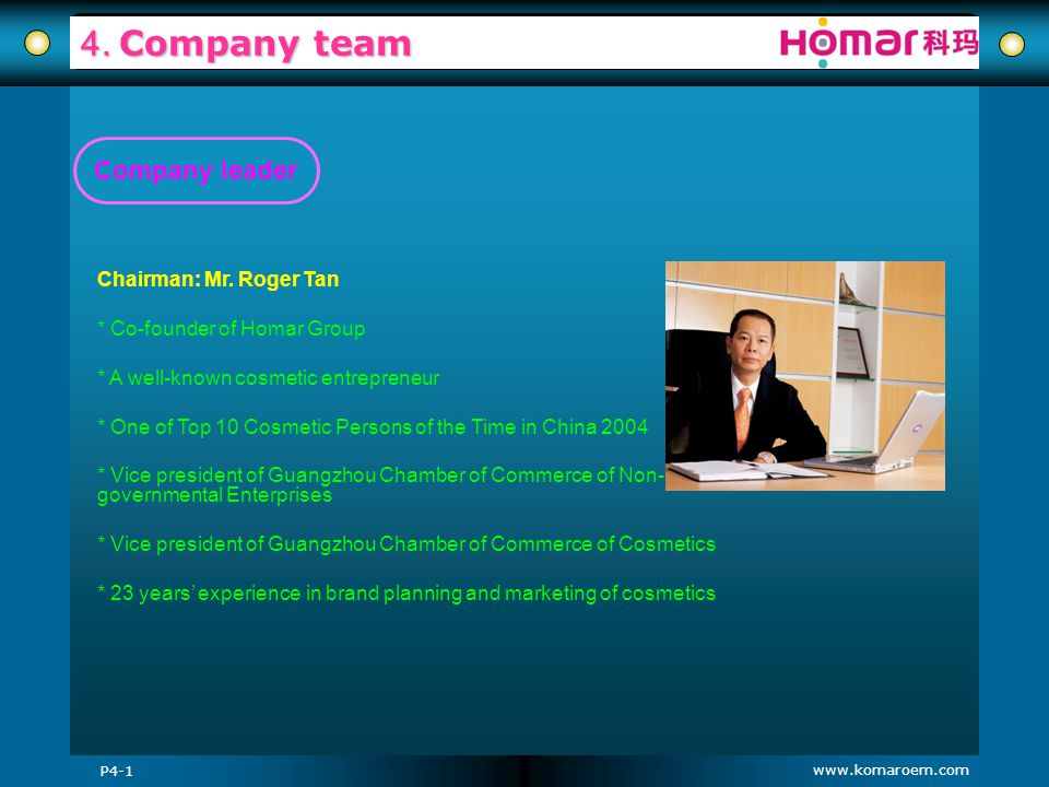 www.komaroem.com 4. Company team P4-1 Company leader Chairman: Mr. Roger Tan * Co-founder of Homar Group * A well-known cosmetic entrepreneur * One of