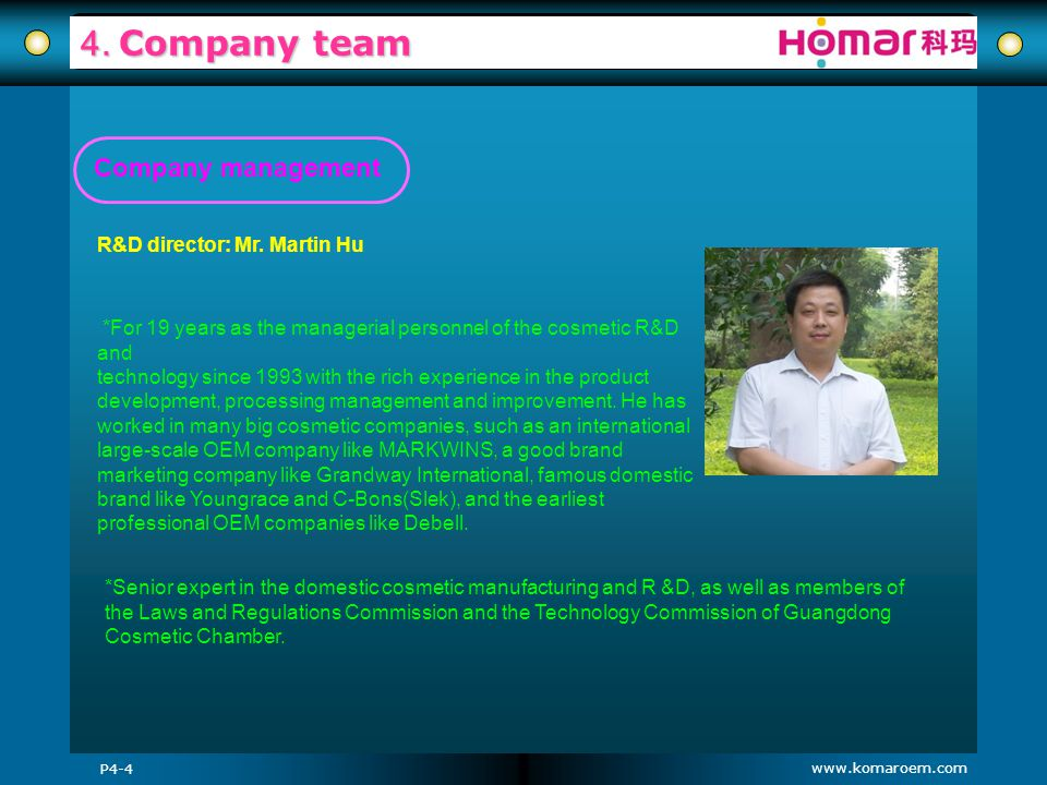 www.komaroem.com 4. Company team R&D director: Mr. Martin Hu P4-4 *For 19 years as the managerial personnel of the cosmetic R&D and technology since 1
