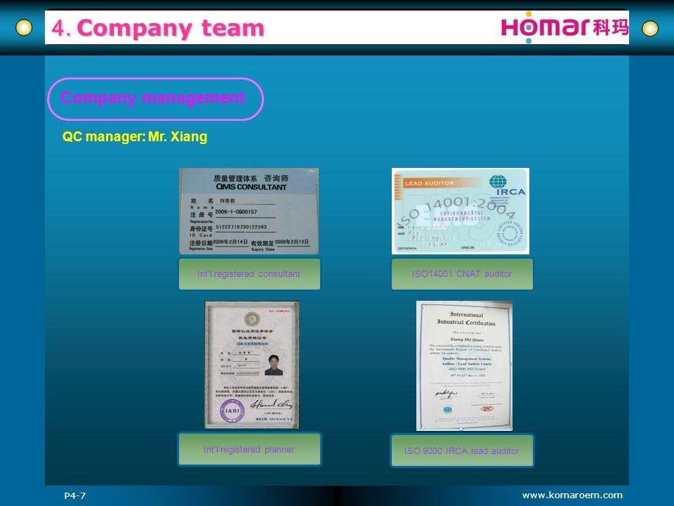 www.komaroem.com 4. Company team QC manager: Mr. Xiang ISO 9000 IRCA lead auditor P4-7 ISO14001 CNAT auditorIntl registered consultant Intl registered