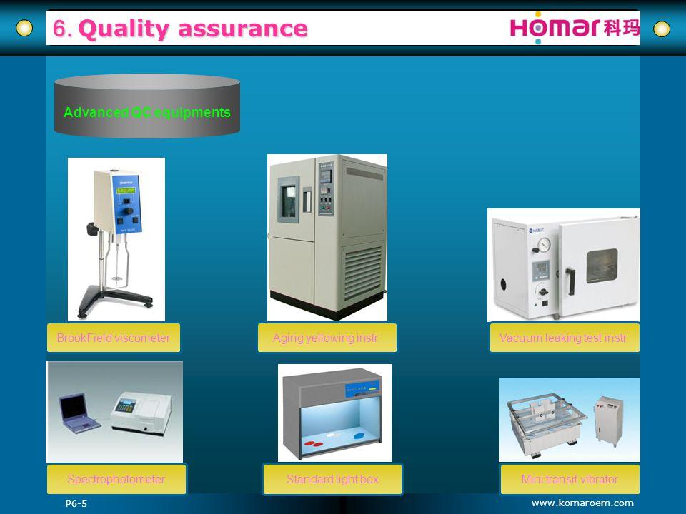 www.komaroem.com 6. Quality assurance BrookField viscometerAging yellowing instr. Standard light boxSpectrophotometer Vacuum leaking test instr. Mini