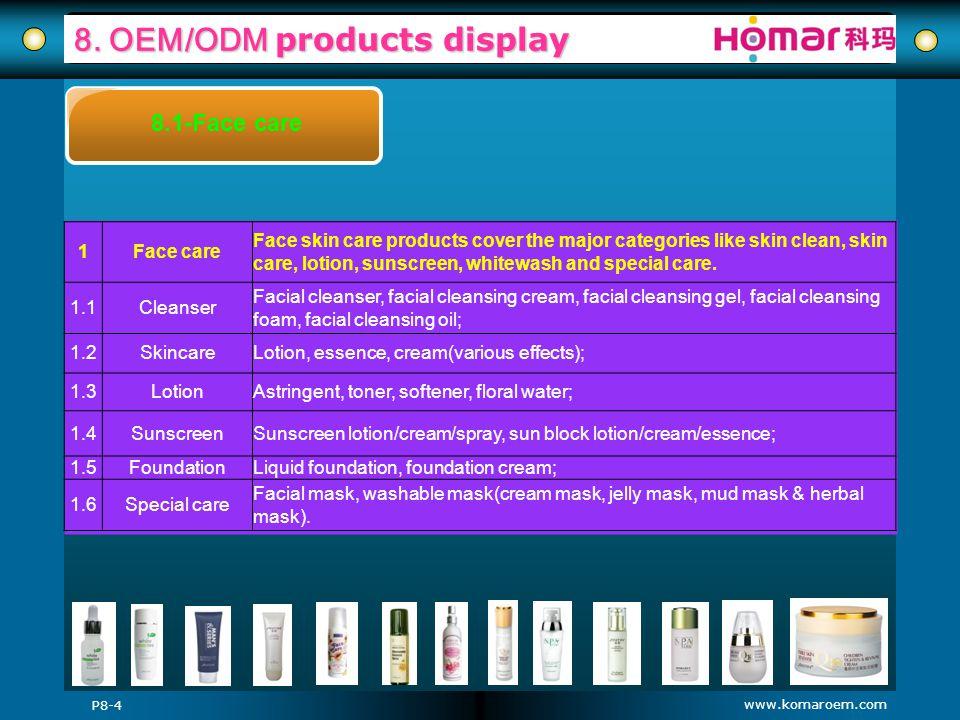 www.komaroem.com 8. OEM/ODM products display P8-4 8.1-Face care 1Face care Face skin care products cover the major categories like skin clean, skin ca