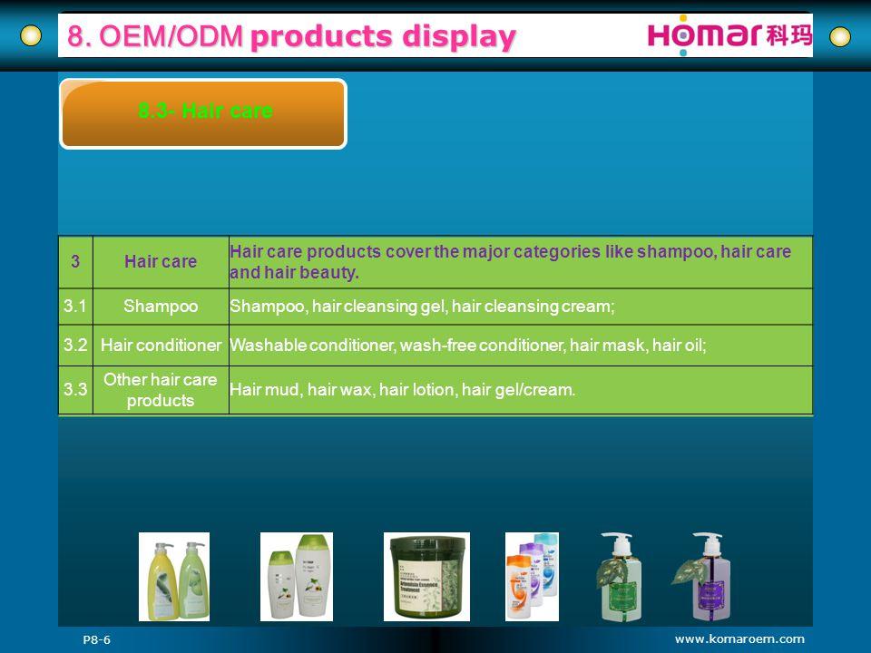 www.komaroem.com 8. OEM/ODM products display P8-6 8.3- Hair care 3Hair care Hair care products cover the major categories like shampoo, hair care and