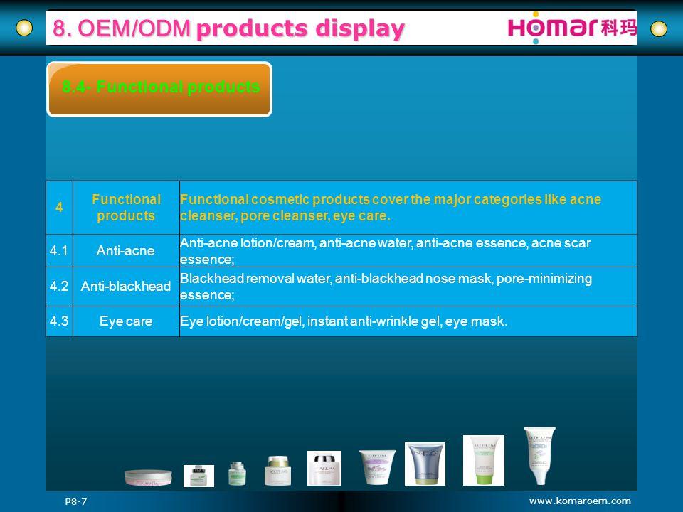 www.komaroem.com 8. OEM/ODM products display P8-7 8.4- Functional products 4 Functional products Functional cosmetic products cover the major categori