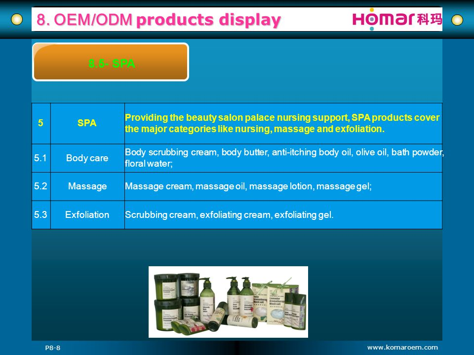 www.komaroem.com 8. OEM/ODM products display P8-8 8.5- SPA 5SPA Providing the beauty salon palace nursing support, SPA products cover the major catego