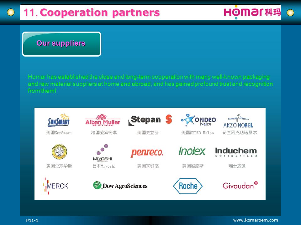 www.komaroem.com 11. Cooperation partners Our suppliers Homar has established the close and long-term cooperation with many well-known packaging and r