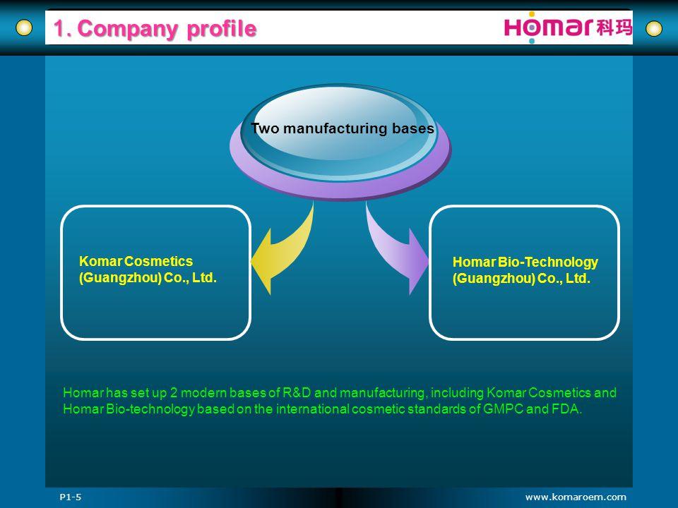 www.komaroem.com 1. Company profile Komar Cosmetics (Guangzhou) Co., Ltd. Two manufacturing bases Homar Bio-Technology (Guangzhou) Co., Ltd. Homar has