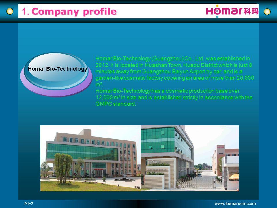 www.komaroem.com 1. Company profile Homar Bio-Technology (Guangzhou) Co., Ltd. was established in 2012. It is located in Huashan Town, Huadu District