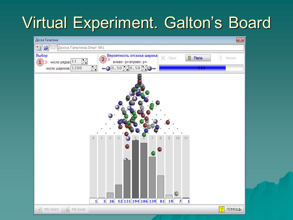 Virtual Experiment. Galtons Board