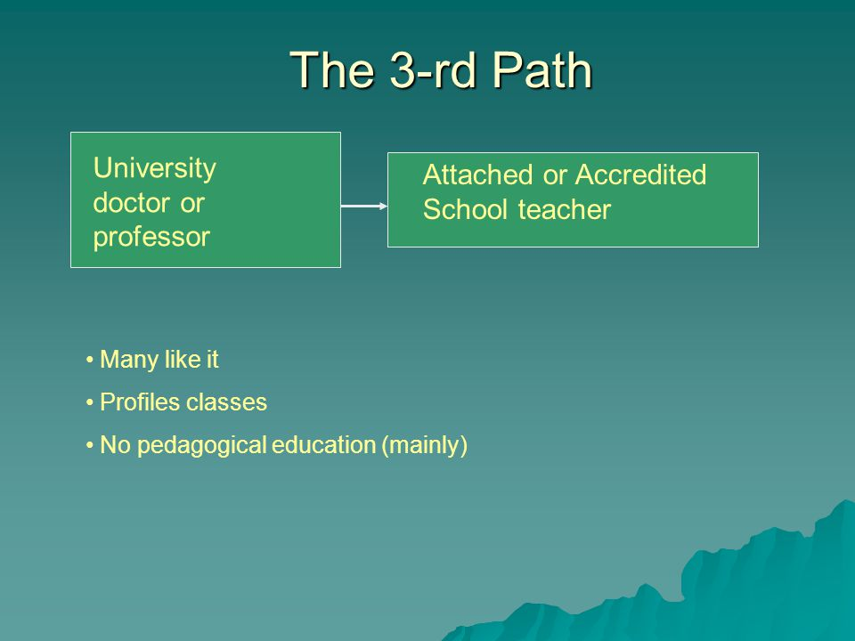 The 4-th Path Engineer or high qualified specialist School teacher Often – with no vocation No pedagogical education Often – no enough subject knowledge