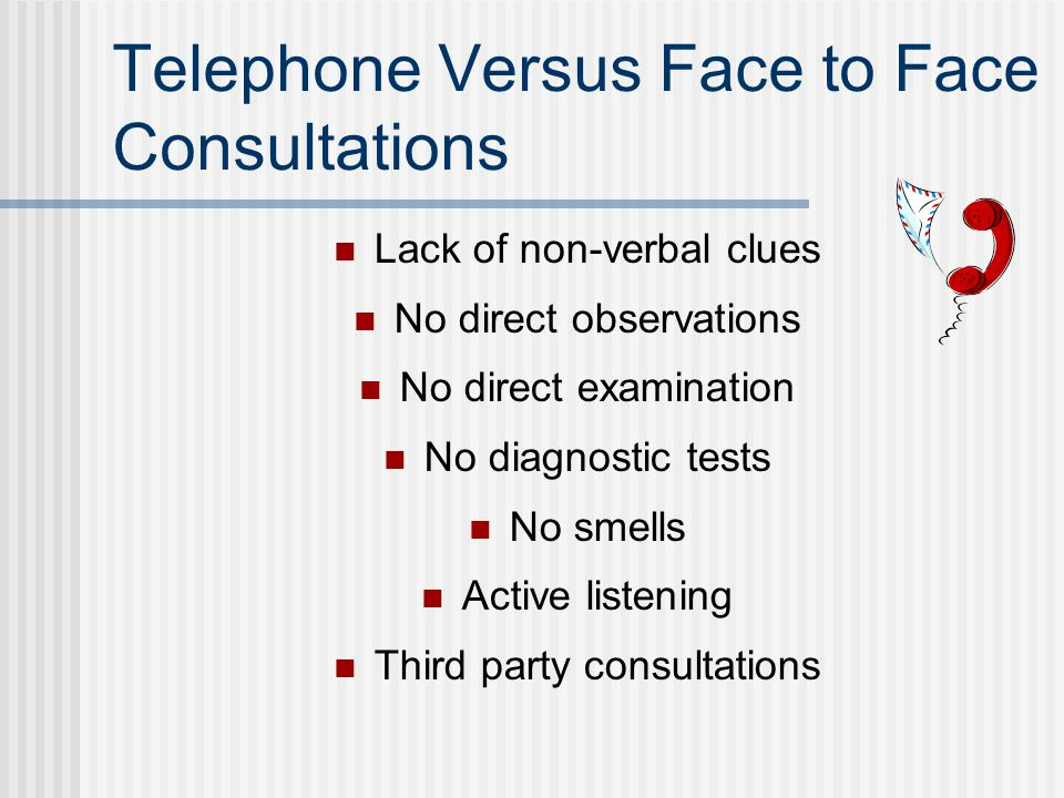 Telephone Versus Face to Face Consultations Lack of non-verbal clues No direct observations No direct examination No diagnostic tests No smells Active