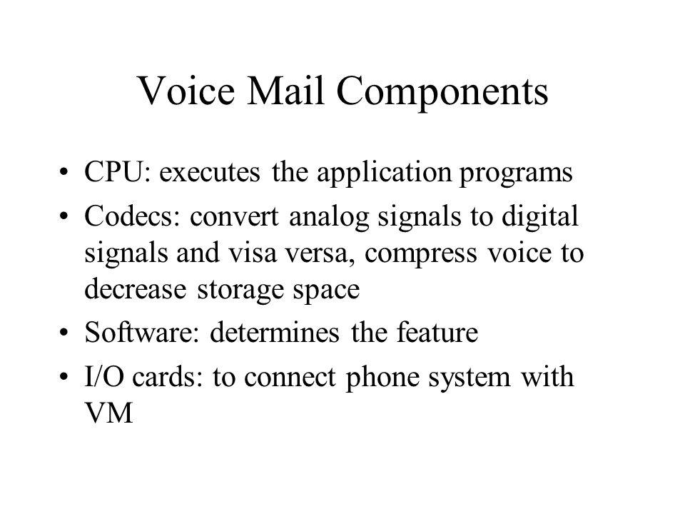 Voice Mail Components CPU: executes the application programs Codecs: convert analog signals to digital signals and visa versa, compress voice to decre