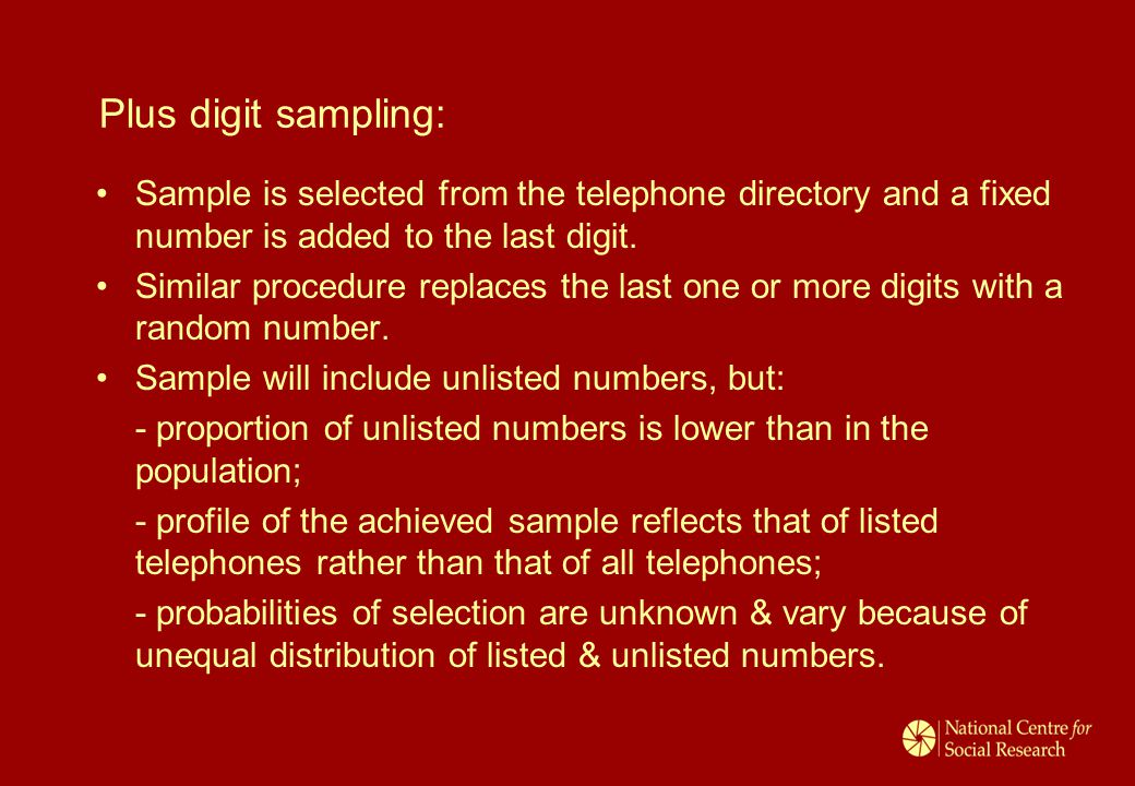 Plus digit sampling: Sample is selected from the telephone directory and a fixed number is added to the last digit. Similar procedure replaces the las