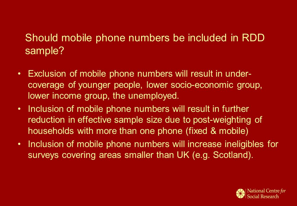 Should mobile phone numbers be included in RDD sample.