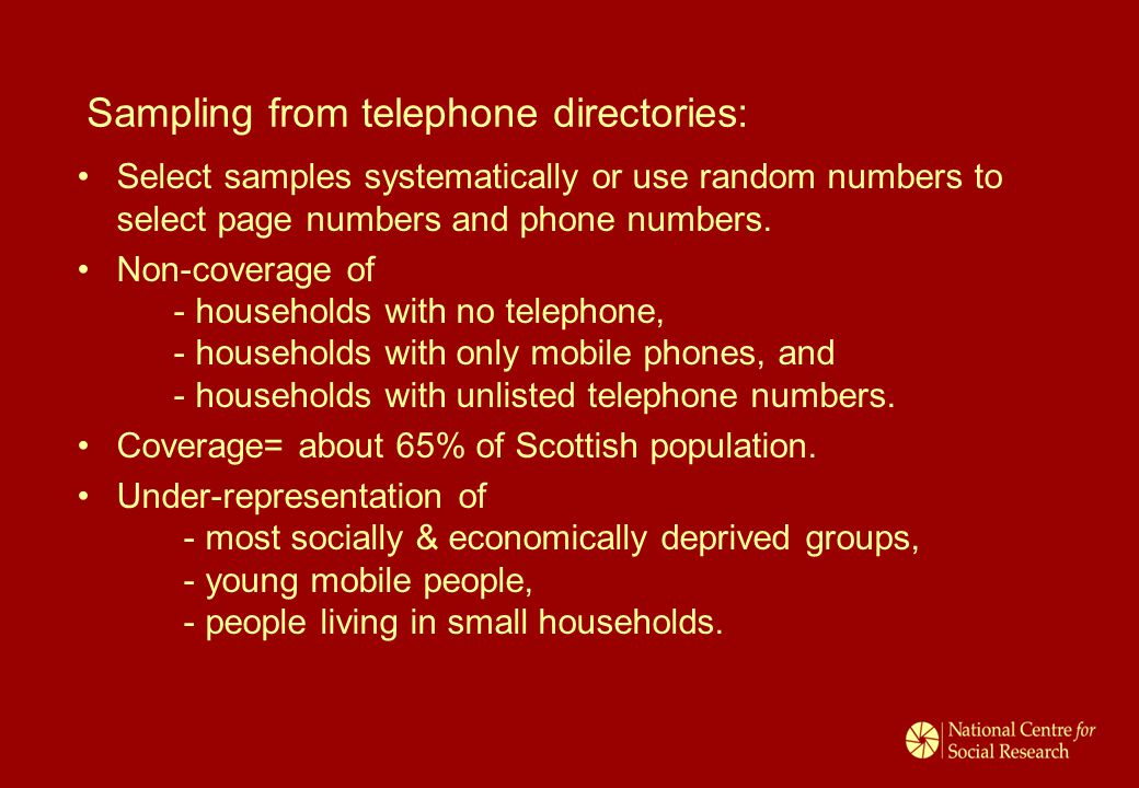 Sampling from telephone directories: Select samples systematically or use random numbers to select page numbers and phone numbers.