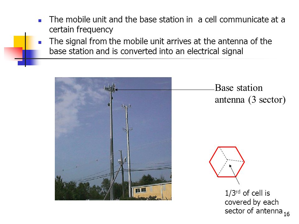 16 The mobile unit and the base station in a cell communicate at a certain frequency The signal from the mobile unit arrives at the antenna of the bas