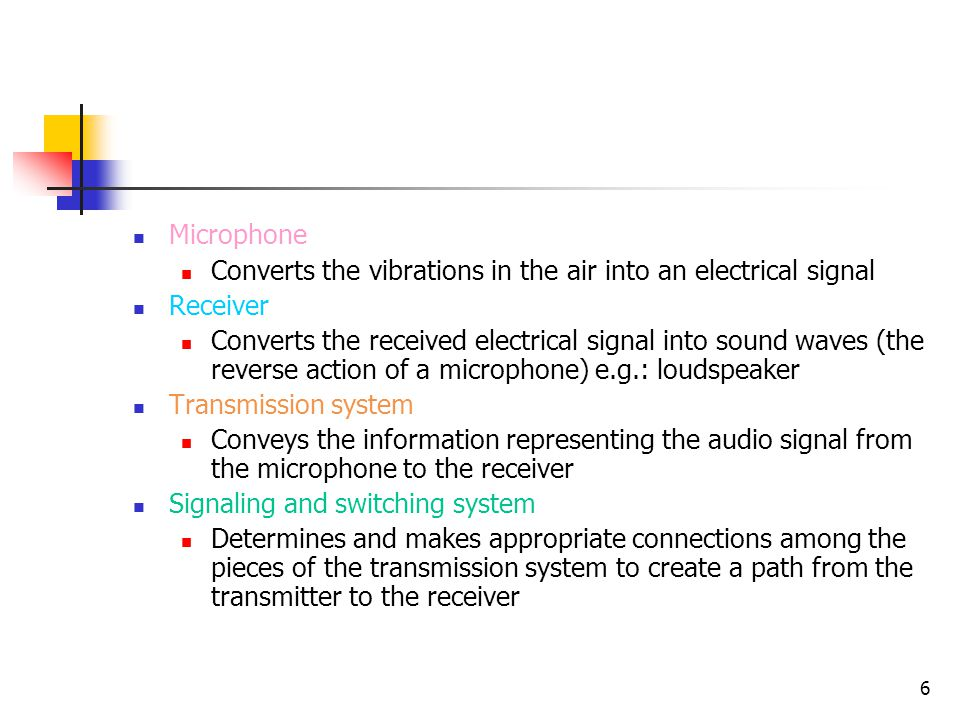6 Microphone Converts the vibrations in the air into an electrical signal Receiver Converts the received electrical signal into sound waves (the rever