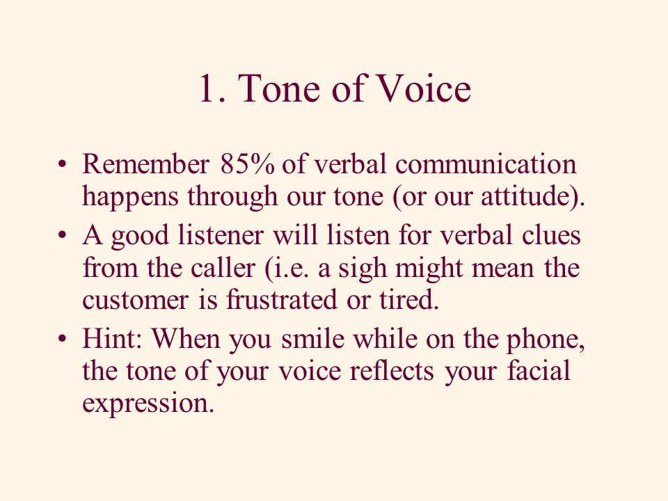 Basic Listening Skills 1.Tone of Voice 2.Word Content 3.Rate of Speech