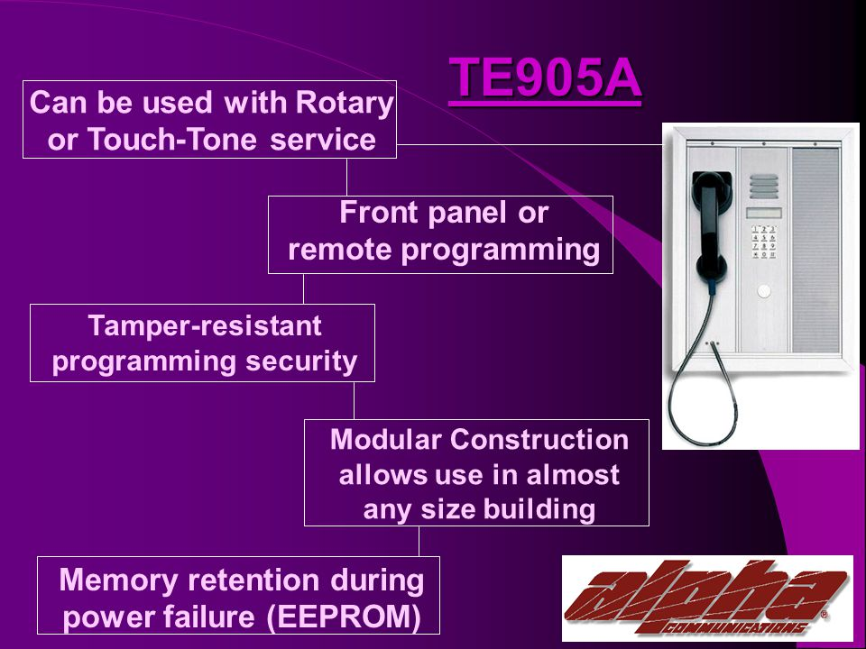 TE905A Can be used with Rotary or Touch-Tone service Front panel or remote programming Tamper-resistant programming security Modular Construction allows use in almost any size building Memory retention during power failure (EEPROM)