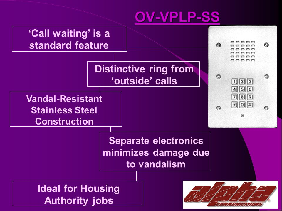 OV-VPLP-SS Call waiting is a standard feature Distinctive ring from outside calls Vandal-Resistant Stainless Steel Construction Separate electronics minimizes damage due to vandalism Ideal for Housing Authority jobs