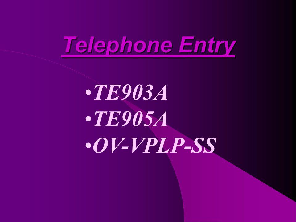 Telephone Entry TE903A TE905A OV-VPLP-SS