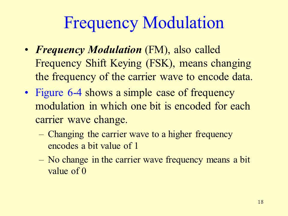 18 Frequency Modulation Frequency Modulation (FM), also called Frequency Shift Keying (FSK), means changing the frequency of the carrier wave to encod