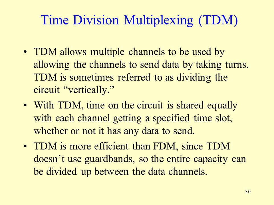 30 Time Division Multiplexing (TDM) TDM allows multiple channels to be used by allowing the channels to send data by taking turns. TDM is sometimes re