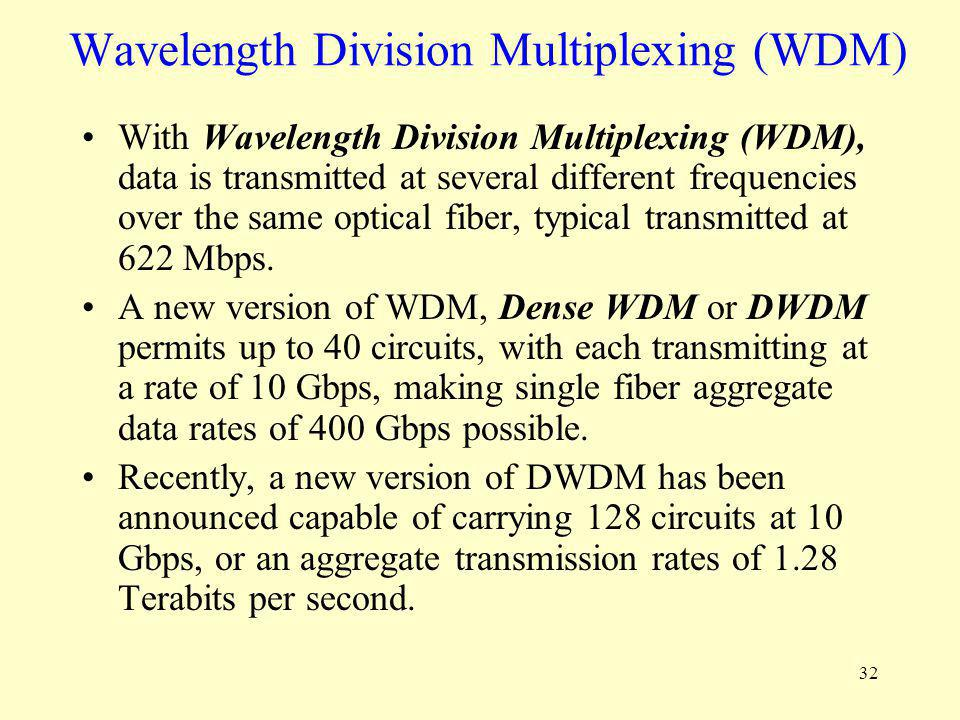 32 Wavelength Division Multiplexing (WDM) With Wavelength Division Multiplexing (WDM), data is transmitted at several different frequencies over the s