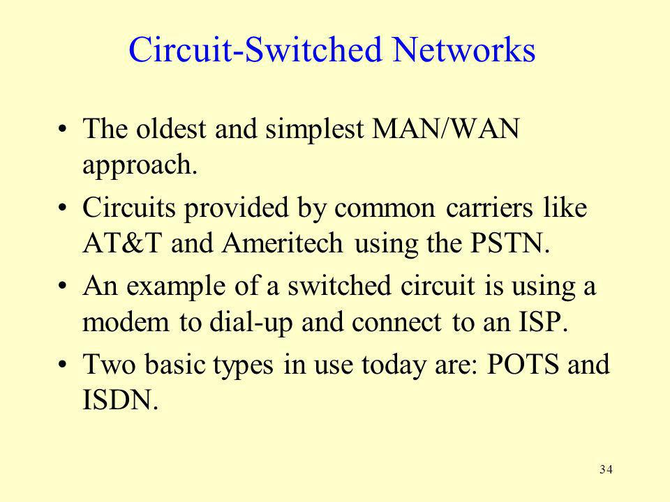 34 Circuit-Switched Networks The oldest and simplest MAN/WAN approach. Circuits provided by common carriers like AT&T and Ameritech using the PSTN. An