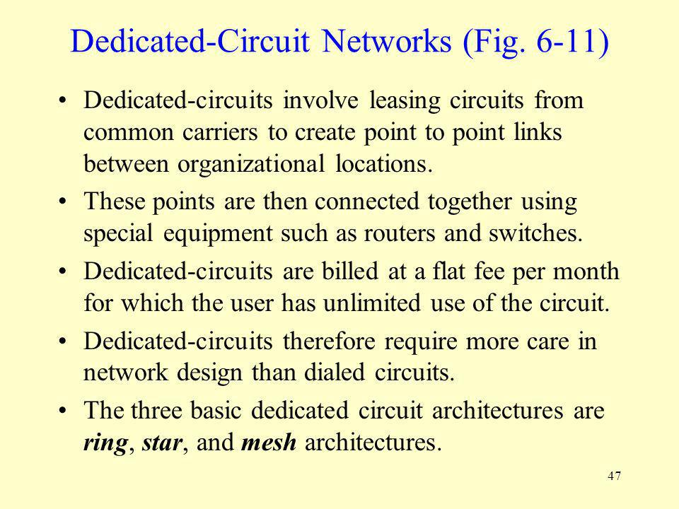 47 Dedicated-Circuit Networks (Fig. 6-11) Dedicated-circuits involve leasing circuits from common carriers to create point to point links between orga