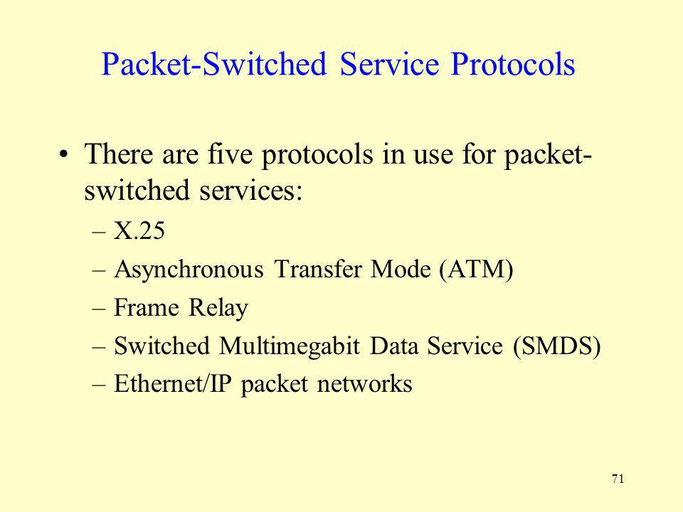 71 Packet-Switched Service Protocols There are five protocols in use for packet- switched services: –X.25 –Asynchronous Transfer Mode (ATM) –Frame Rel