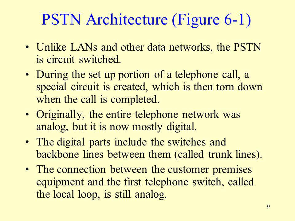9 PSTN Architecture (Figure 6-1) Unlike LANs and other data networks, the PSTN is circuit switched. During the set up portion of a telephone call, a s