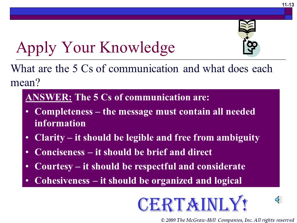 © 2009 The McGraw-Hill Companies, Inc. All rights reserved 11-12 Communication Skills (cont.) The 5 Cs of Communication