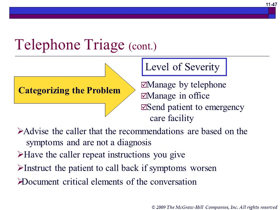 © 2009 The McGraw-Hill Companies, Inc. All rights reserved 11-46 Telephone Triage Telephone triage is used as a process of deciding what action to tak