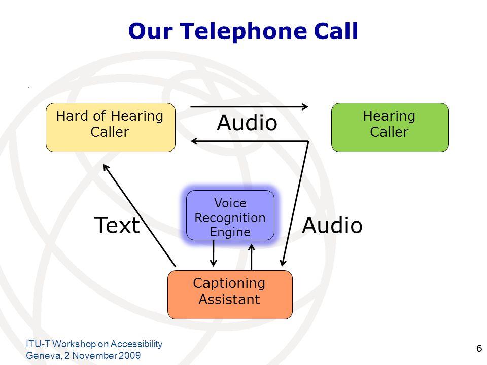 International Telecommunication Union Our Telephone Call. ITU-T Workshop on Accessibility Geneva, 2 November 2009 6 Hard of Hearing Caller Hearing Cal