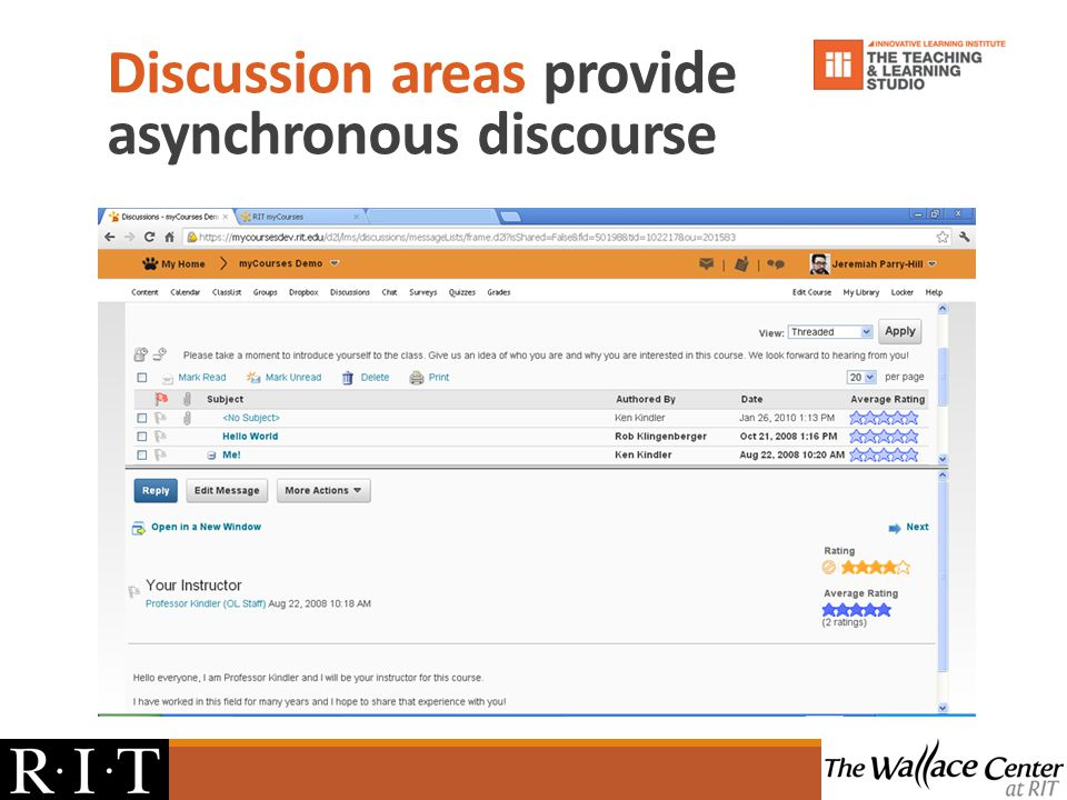 Discussion areas provide asynchronous discourse