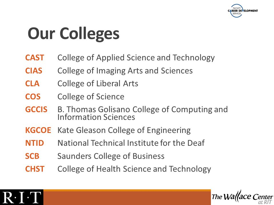 Our Colleges CASTCollege of Applied Science and Technology CIASCollege of Imaging Arts and Sciences CLACollege of Liberal Arts COSCollege of Science GCCISB.