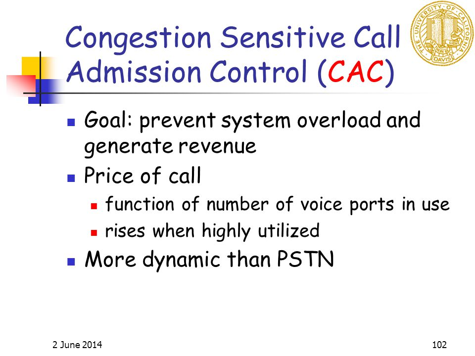 2 June 2014102 Congestion Sensitive Call Admission Control (CAC) Goal: prevent system overload and generate revenue Price of call function of number of voice ports in use rises when highly utilized More dynamic than PSTN