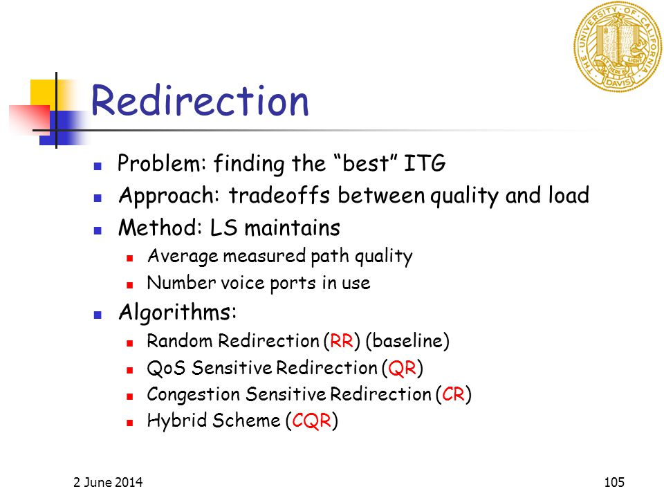 2 June 2014105 Redirection Problem: finding the best ITG Approach: tradeoffs between quality and load Method: LS maintains Average measured path quality Number voice ports in use Algorithms: Random Redirection (RR) (baseline) QoS Sensitive Redirection (QR) Congestion Sensitive Redirection (CR) Hybrid Scheme (CQR)