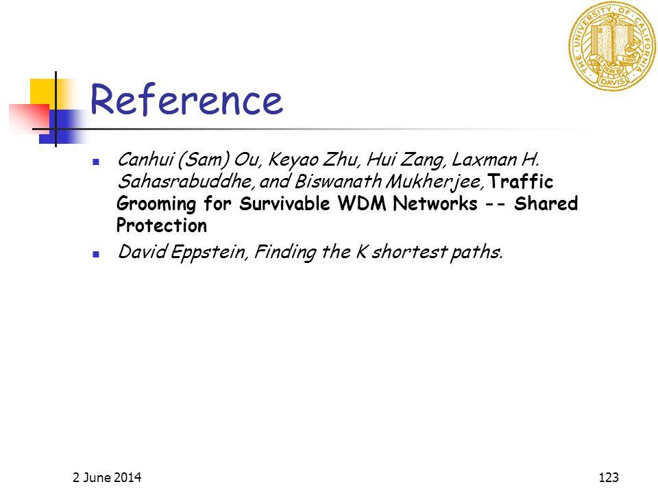 2 June 2014123 Reference Canhui (Sam) Ou, Keyao Zhu, Hui Zang, Laxman H. Sahasrabuddhe, and Biswanath Mukherjee, Traffic Grooming for Survivable WDM N