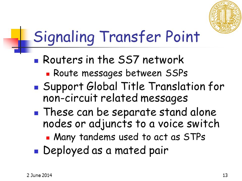 2 June 201413 Signaling Transfer Point Routers in the SS7 network Route messages between SSPs Support Global Title Translation for non-circuit related messages These can be separate stand alone nodes or adjuncts to a voice switch Many tandems used to act as STPs Deployed as a mated pair