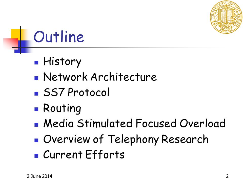 2 June 20142 Outline History Network Architecture SS7 Protocol Routing Media Stimulated Focused Overload Overview of Telephony Research Current Efforts