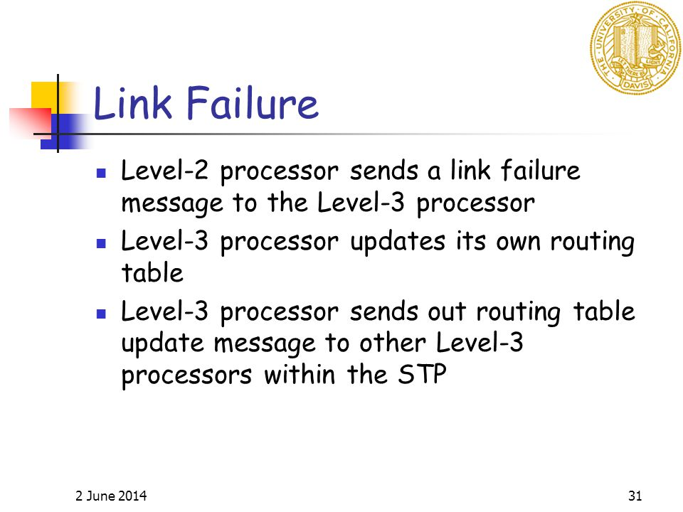 2 June 201431 Link Failure Level-2 processor sends a link failure message to the Level-3 processor Level-3 processor updates its own routing table Level-3 processor sends out routing table update message to other Level-3 processors within the STP