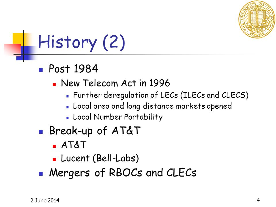 2 June 20144 History (2) Post 1984 New Telecom Act in 1996 Further deregulation of LECs (ILECs and CLECS) Local area and long distance markets opened Local Number Portability Break-up of AT&T AT&T Lucent (Bell-Labs) Mergers of RBOCs and CLECs