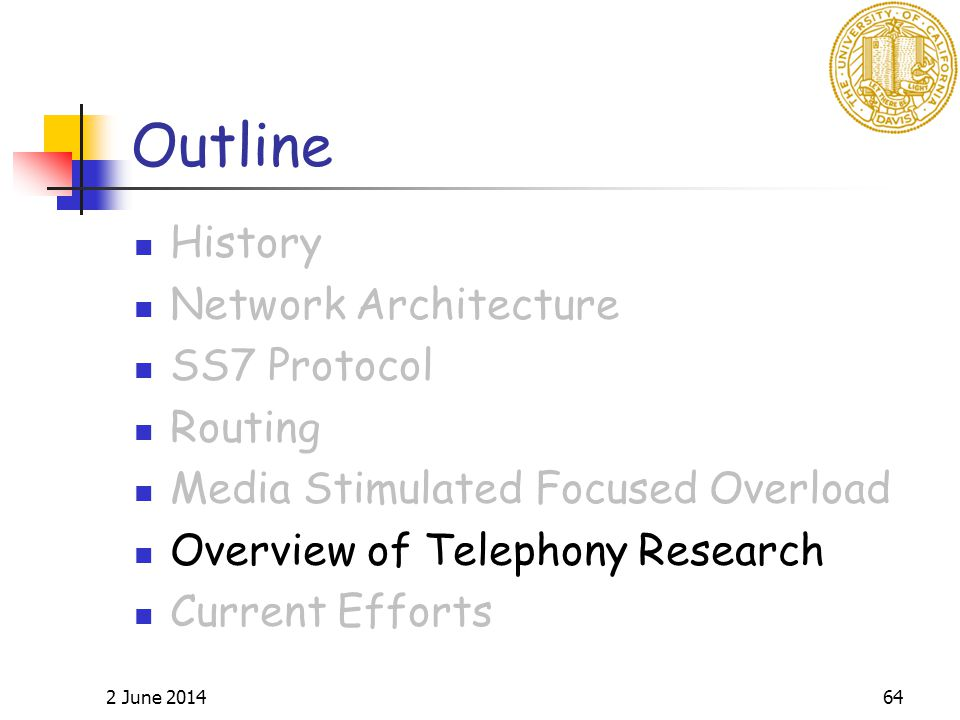 2 June 201464 Outline History Network Architecture SS7 Protocol Routing Media Stimulated Focused Overload Overview of Telephony Research Current Efforts