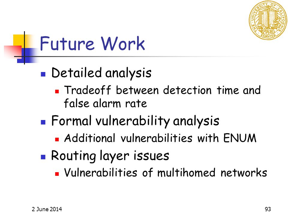 2 June 201493 Future Work Detailed analysis Tradeoff between detection time and false alarm rate Formal vulnerability analysis Additional vulnerabilities with ENUM Routing layer issues Vulnerabilities of multihomed networks
