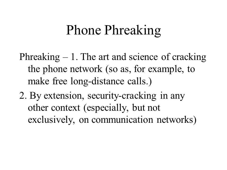 Phone Phreaking Phreaking – 1.