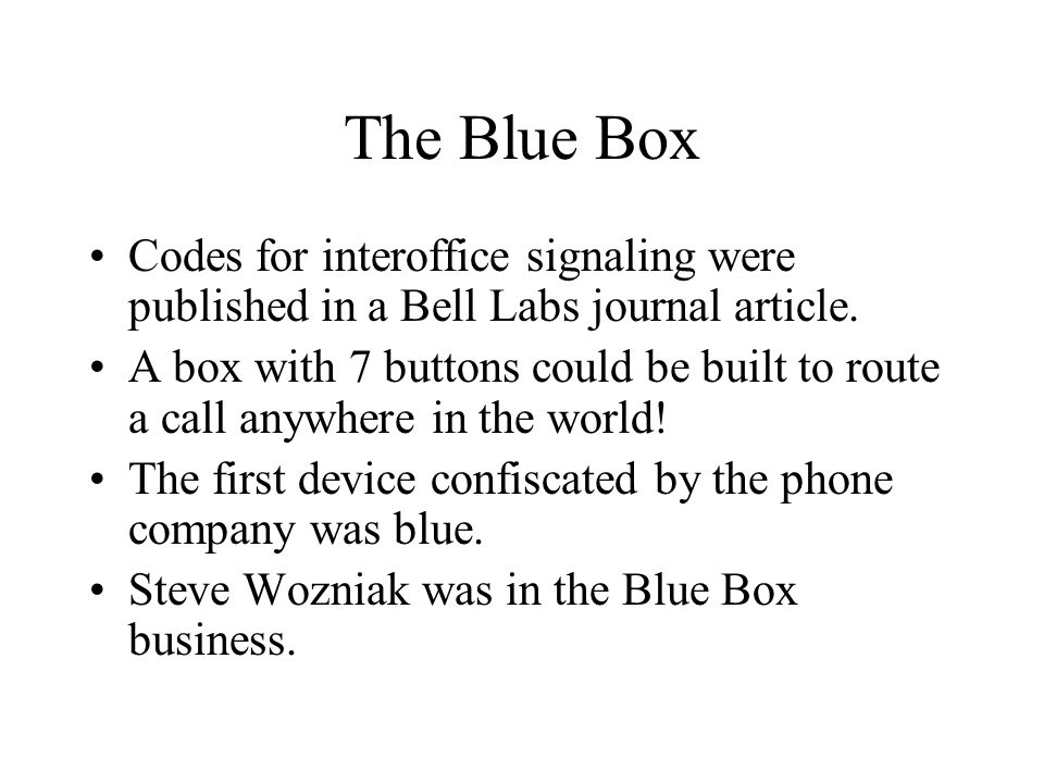 The Blue Box Codes for interoffice signaling were published in a Bell Labs journal article.