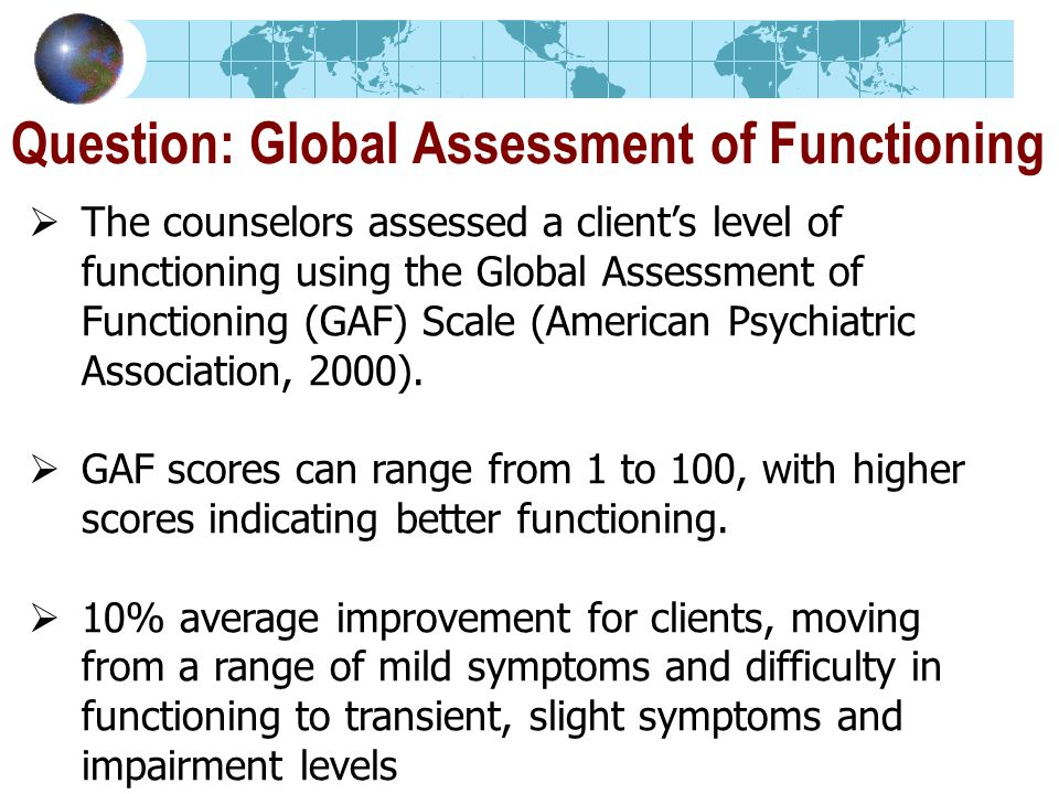 Question: Global Assessment of Functioning The counselors assessed a clients level of functioning using the Global Assessment of Functioning (GAF) Scale (American Psychiatric Association, 2000).