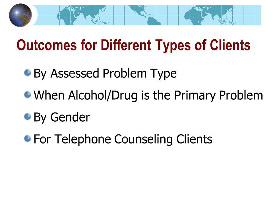 Outcomes for Different Types of Clients By Assessed Problem Type When Alcohol/Drug is the Primary Problem By Gender For Telephone Counseling Clients